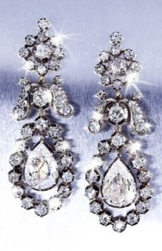 A pair of antique diamond earrings, 19th century. #antique #earrings
