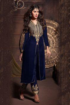 Dazzling Dark Blue Center Slit Front Zipper Embroidered Straight Pant Suit @LooksGud.in #Blue, #FrontSlit, #StraightPant, #Festive