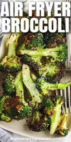 Air Fryer Oven Recipes, Air Frier Recipes, Air Fryer Dinner Recipes, Broccoli Bites, Fresh Broccoli, Side Dish Recipes, Vegetable Recipes, Side Dishes, Fun Easy Recipes