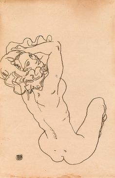 "thunderstruck9: ""Egon Schiele (Austrian, 1890-1918), Weiblicher Akt [Female nude], 1917. Black chalk on paper, 45.8 × 29.8 cm. """