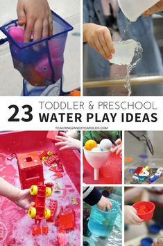Water play activities are super fun, and can be a fun part of early learning with toddlers and preschoolers. Here are 23 favorites to try in your home or classroom! #toddlers #preschool #sensorybins #waterplay #classroom #teachers #homeschool #AGE2 #AGE3 #AGE4 #teaching2and3yearolds