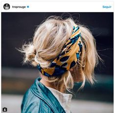 messy bun with hair scarf; easy spring and summer hair styles