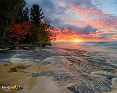 Hurrican River sunset Pictured Rocks National Lakeshore