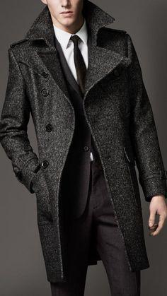 Burberry Wool Tweed Belted Coat