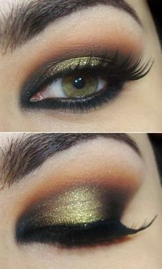 A Beautiful Black Green And Gold Eye Shadow