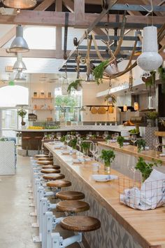 """The Butcher's Daughter is a plant-based restaurant, cafe, juice bar and """"vegetable slaughterhouse Decoration Restaurant, Deco Restaurant, Luxury Restaurant, Restaurant Interior Design, Cafe Interior, Best Interior Design, Outdoor Restaurant, Modern Interior, Hampton Restaurant"""