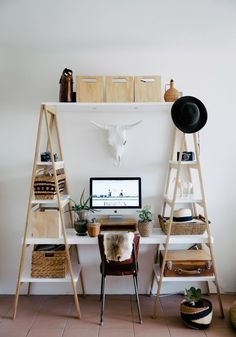 White desk and clever wooden home office storage. More creative work spaces and share your own on #EtsyDeskie
