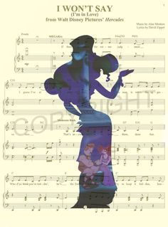 Here is an art print of Meg (Megara) and Hercules from Disneys Hercules on the sheet music for the song I Wont Say Im in Love or on a dictionary paper. This is perfect for any Hercules/Disney fanatic!  Be sure to let us know which print you perfer: 1) Music Sheet Background or 2) Dictionary Background.  We print this on quality photo paper, which measures approximately 8.5x11, and ship it in a heavy-duty envelope to ensure it arrives intact. FRAME NOT INCLUDED.  11x15 Poster: $20.00  Tak...