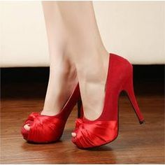 Satin and Suede Elegant Peep Toe Heels - 3 Colours for R320.00