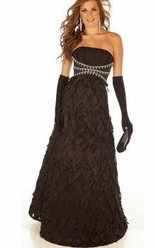 f99bb7b7940 Black A-Line Princess Strapless Empire Long Floor-length Sleeveless Zipper  Up