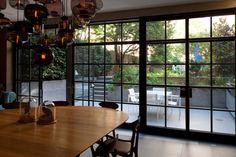 Factory windows doors Brooklyn Heights townhouse garden ; Gardenista