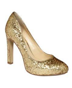 gold glitter pump by guess