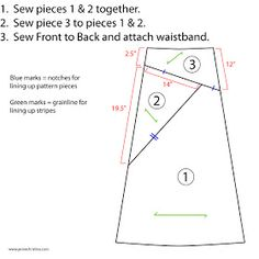 Cute Way To Modify Any Maxi Skirt Pattern. MEL-check this out for your stripped skirt. shorten piece #1
