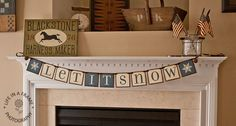 Items similar to Primitive - Winter banner - LET IT SNOW Banner - Garland - Wall Hanging - Bunting - Pennant - Photo Prop - Snowflakes- Word Art - Wall sign on Etsy Winter Christmas, Christmas Gifts, Christmas Decorations, Xmas, Bunting Banner, Banners, Buntings, Primitive Winter Decorating, Holiday Decorating