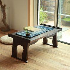 Japanese Antique Tea Table Folding Legs Rectangle 60cm Paulownia Wood  Traditional CHABUDAI Asian Furniture Living Room Low Table
