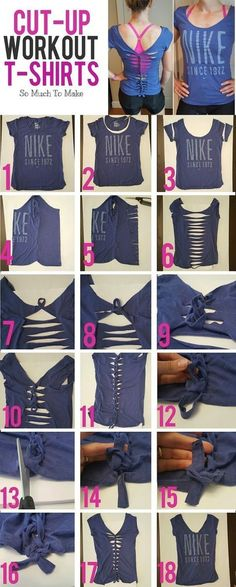 DIY repurposed woven t-shirt. No sew fashion. Diy Cut Shirts, Old Shirts, T Shirt Diy, Cutting Shirts, T Shirt Hacks, No Sew Shirts, Diy Fashion Tshirt, Diy T Shirt Cutting, Diy Fashion No Sew