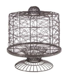 French Wire Cake Stand with Dome Home Essentials