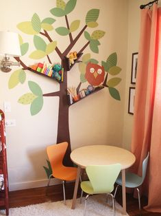 Boy Playroom Ideas, love the shelves in the tree