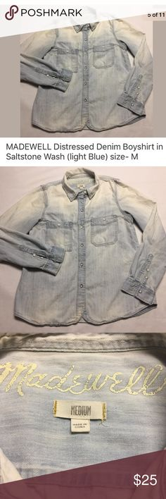 """MADEWELL distressed denim boyshirt, Saltstone Wash Preowned MADEWELL distressed denim boyshirt in Saltstone Wash. Excellent distressing and fading details on the buttons and shirt. Perfect for that well worn """"had it forever"""" look.  Extra black buttons that came with the shirt if you want to change one of the pocket buttons (why it's black? I don't know but I've seen some pictures on the internet with the black button on the left pocket instead of the distressed metal one). Size: M 18.5""""…"""