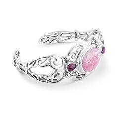 Carolyn Pollack Rhodochrosite & Garnet Cuff Bracelet