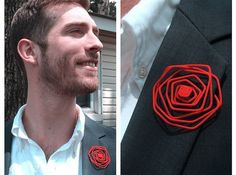 Wire Lapel Flower with Stem 3d printed Jewelry Accessories Red on navy blue suit jacket