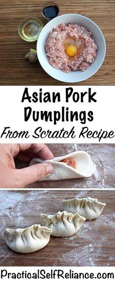 Asian Pork Dumplings - From Scratch Recipe with Homemade Dumpling Wrappers asian recipes Asian Pork Dumplings (Gyoza) - Scratch Recipe Asian Pork Dumplings Recipe, Dumplings From Scratch Recipe, Dumplings Receta, Beef Dumplings, Homemade Dumplings, Chinese Dumplings, Cooking Dumplings, Dumpling Filling Recipe Pork, Pork Recipes