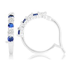 $14.99 - 1.32 Carat Created Sapphire or Ruby and Sterling Silver Hoop Earrings