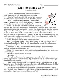 This Reading Comprehension Worksheet - Stay-At-Home Cow is for teaching reading comprehension. Use this reading comprehension story to teach reading comprehension. Reading Comprehension Worksheets, Reading Fluency, Reading Passages, Reading Strategies, Reading Skills, English Stories For Kids, English Worksheets For Kids, Reading Test, Third Grade Reading