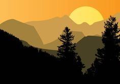 Mountain Sunset - Free Vector Site | Download Free Vector Art, Graphics