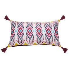 Kissen mit Pompons aus Baumwolle, mit Ethno-Muster bedruckt, 30x50cm | Maisons du Monde