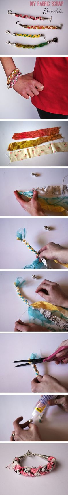 Easy Scrap Fabric Bracelet DIY - how cool would it be if you made one out of the fabric scraps from the bow ties R R Bowles? what do you think Jones Jones Leichtman Jantzen Cute Crafts, Crafts To Do, Diy Crafts, Fabric Bracelets, Fabric Jewelry, Braided Bracelets, Friendship Bracelets, Ribbon Jewelry, Jewelry Bracelets