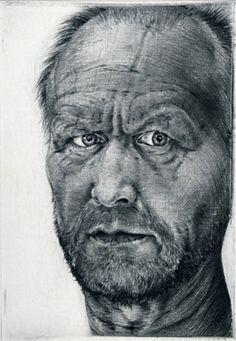 Arne Bendik Sjur. Self Portrait III, 1994. Drypoint. Edition of 10. 5 x 3-1/2 inches.
