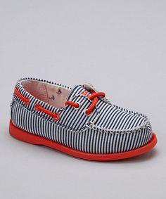 Red & Blue Stripe Alex Boat Shoe by OshKosh B'gosh