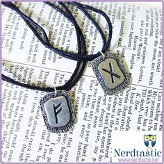 """Rune Tile Sliding Knot Necklace (Norse, Celtic, Viking, Mens Jewelry, Symbolism, Talismen, fehu, ehwax, wunjo)    This necklace features a rune tile of your choice on a comfortable cotton cord or a 24"""" aluminum ball chain. The cord is adjusted with sliding knots so you can change the length to what best suits your style.    The tile is approximately 1"""" in size and I believe it is made from pewter.  Each tile appears to be slightly different in make when it comes to the edging and etching so…"""