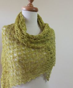 Crochet Shawl Green Handcrocheted Very Soft Scarf by filofashion, $89.00