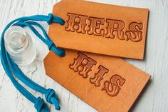 His/Hers, Mr/Mrs. Leather Luggage Tags 26.00, via Etsy.