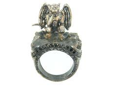 gargoyles fairy | Silver Gargoyle Ring with Black Diamonds. Item # 2699.