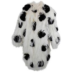 Preowned 1980s Bill Blass Polka Dot Ostrich Feather Coat ($3,500) ❤ liked on Polyvore featuring outerwear, coats, multiple, black 80s fashion, black coat, ostrich feather coat, 80s fashion and bill blass