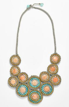 This stone bib necklace has the perfect combination of mint and coral.