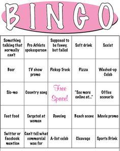 "Super bowl party, ""commercials"" bingo - such a fun idea!"