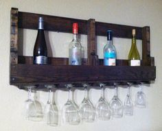 Hand crafted and made from recycled pallet wood.  Wine Rack with Glass Holders by PalletCreations, $90.00 i can so make this it's gonna be my next project