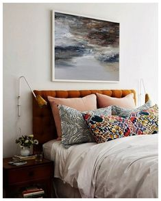vintage bedroom decor, eclectic bedroom decor with velvet headboard and boho floral pillows, colorful bedroom design ideas Welcome to my shop.To see details of the painting, please click Vintage Bedroom Decor, Decoration Bedroom, Home Bedroom, Modern Bedroom, Bedroom Ideas, Eclectic Bedrooms, Contemporary Bedroom, Artistic Bedroom, Bedroom Designs