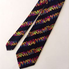 Brioni Italian Neck Tie 100% Silk Black Bright Italy Gold Chain Tag