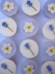 Spring wedding cupcakes – Individual ivory and lilac buttercream coated cupcakes with hand-made sugar daffodils and grape hyacinths – by Nicky Grant