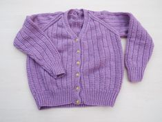 Hand knitted girls mauve cardigan to fit 3 - 4 years  £20.00