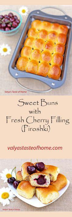 Sweet Buns with Fresh Cherry Filling (Piroshki) http://valyastasteofhome.com/sweet-buns-with-fresh-cherry-filling-piroshki