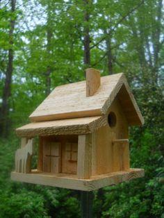 Wren birdhouse with horse.Rustic wren bird house  folk art primitives. USA made.