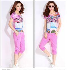 CR00774 Short sleeve summer T-shirt sports sets for women