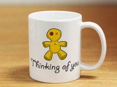 Funny Mugs - Thinking of you voodoo doll - Funny girls mug, offensive coffee mug, funny coffee mug, mug for her, mug for him, gift for her
