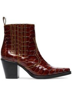 Brown Rosette 75 patent leather cowboy boots